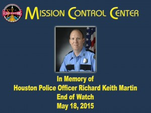 NASA's tribute to Officer Richard Martin was displayed on the front screen in the International Space Station Mission Control Center.